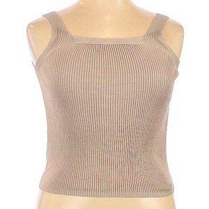 Joseph A. 100% Silk Tan Rib Knit Cropped Top XL